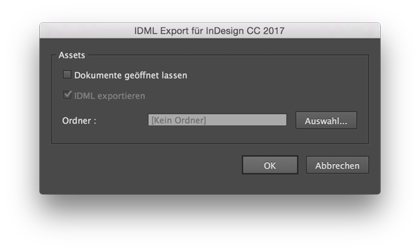 InDesign Skript Export IDML