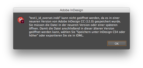 InDesign Meldung Version